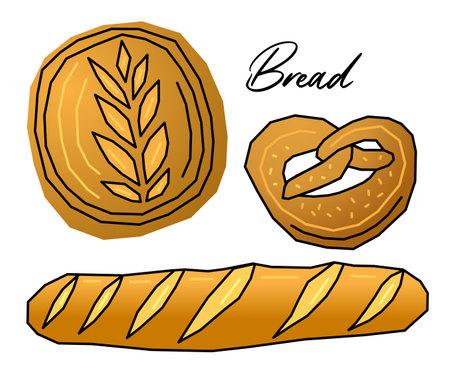 Vector illustration with different types of bread Baguette, bagel, loaf