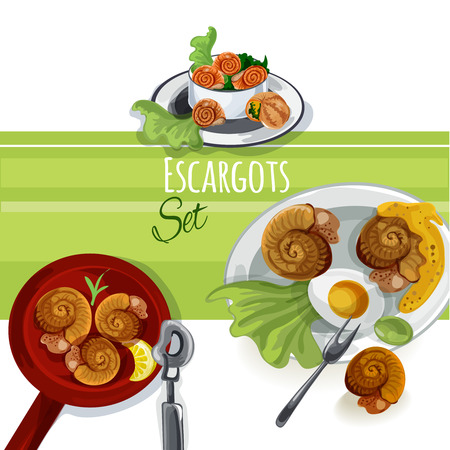 fench: Escargout vector food set Illustration