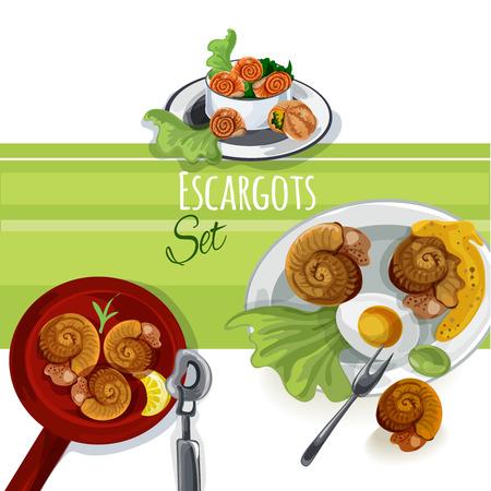 food: Escargout vector food set Illustration