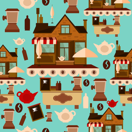 Coffee house seamless pattern Vectores