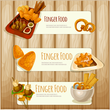 appetizers: Finger food vector banners Illustration