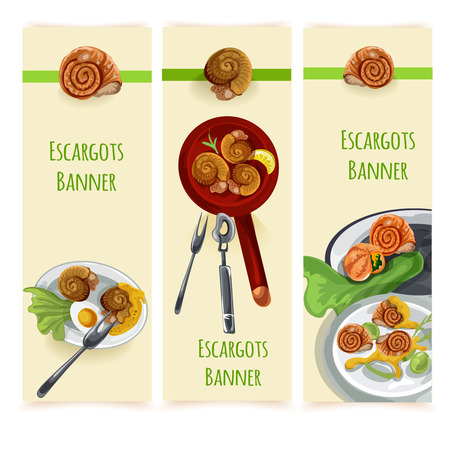 fench: Escargout vector food set Illustration