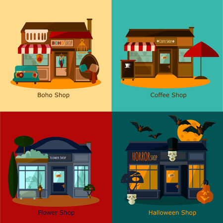 background coffee: Vector house flat set