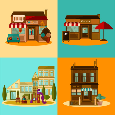 business symbol: Shop and coffee house set