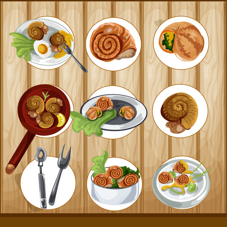 gastronomy: Escargots vector gastronomy set Illustration