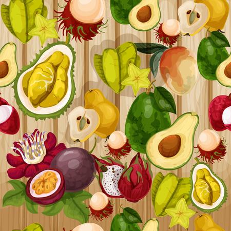 tropical fruit: Vector tropical fruit pattern