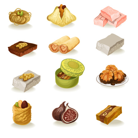turkish dessert: Vector oriental sweets set