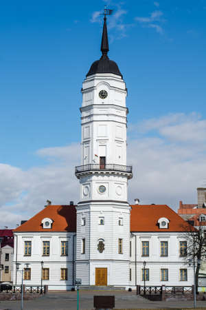 Mogilev, Belarus - March 20 2021: Beautiful old town hall in Mogilev. Renovated old building.