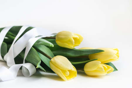 Bouquet of yellow tulips with white ribbon on a white background close up, selective focus