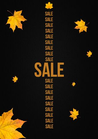 Autumn sale vertical banner with forest leaves on dark background