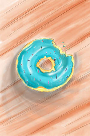 Donut isolated on a wooden background in a modern flat style. Donuts into the glaze collection