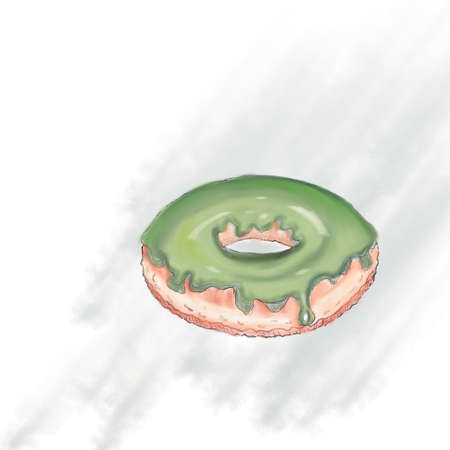 Donut isolated on a light grey background in a modern flat style. Donuts into the glaze collection 版權商用圖片