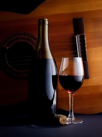 glass of wine and a bottle with a guitar as a background Stock Photo - 5445645