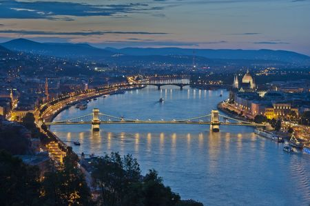 Budapest by night, view on the Danube river and the Chain Bridge photo