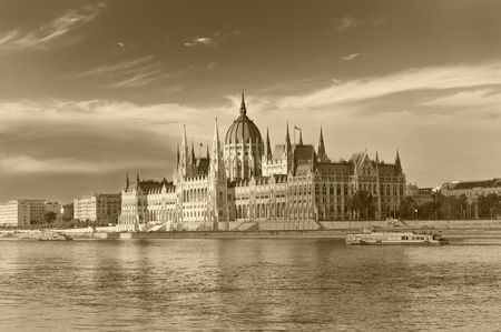 The Hungarian parliament in sepia photo