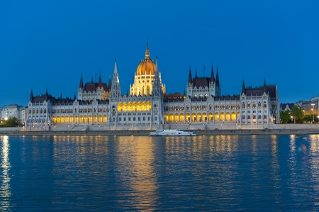 The Hungarian parliament at dusk Stock Photo - 8369402