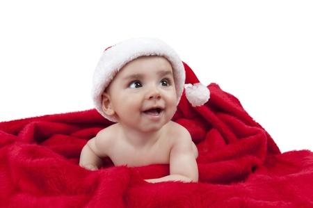 wearing santa hat: Beautiful baby boy wearing Santa hat