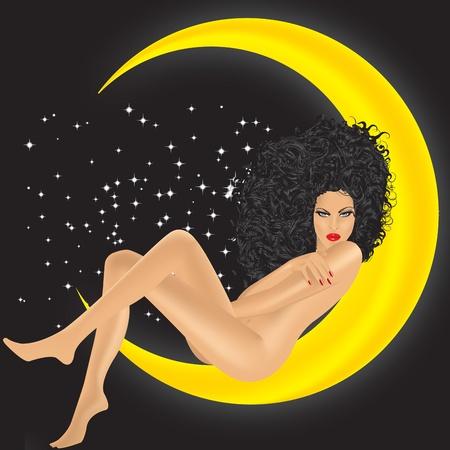 fille sur la lune sur un fond noir