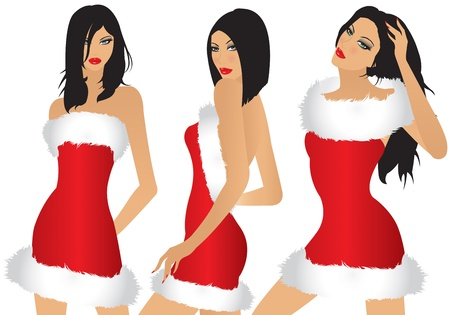 close up face woman: three girls with Christmas dress Illustration