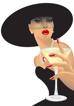 femme fatale with black hat Illustration