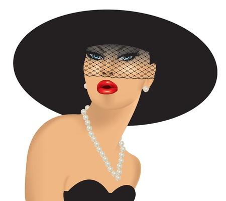 femme fatale, con sombrero negro