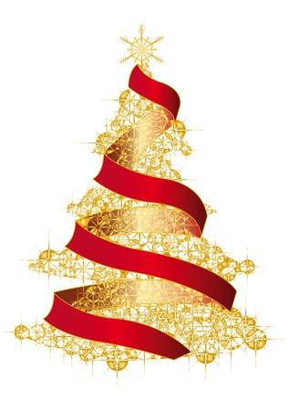 Christmas tree on gold background Illustration