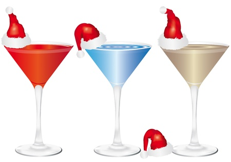 thirst quenching: Christmas drinks on white background Illustration
