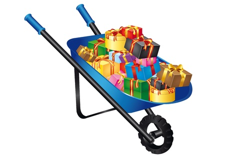 Christmas wheelbarrow on a white background