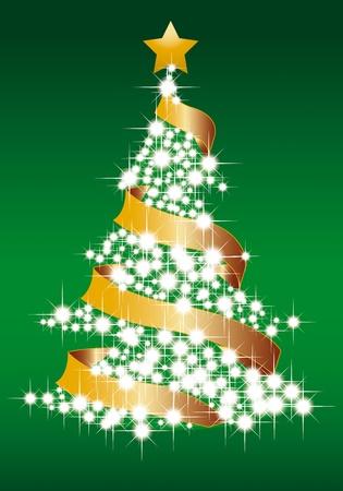 páska: ilustrace magický vánoční strom Ilustrace