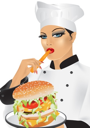 woman close up: chef on a white background