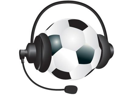 Bal�n de f�tbol con los auriculares sobre un fondo blanco