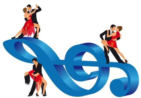 Illustration of man and woman dancing illustration