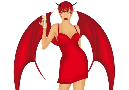 devil girl on a white background photo