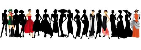 Mode im Laufe der Jahre auf weißem Hintergrund