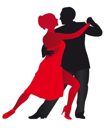 bailarines silueta: Ilustración del hombre y de mujer bailando Foto de archivo