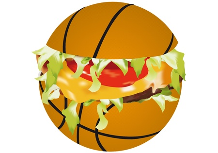 fast ball: sandwich sports on a white background