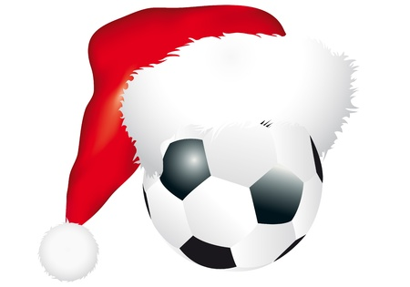 illustration of ball with christmas hat