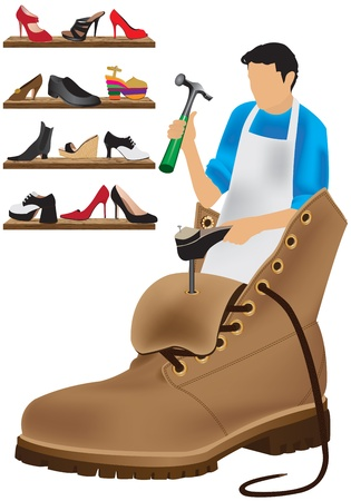 cobbler: shoemaker on a white background Stock Photo