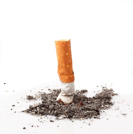 cigarette: consumed cigarette in white background