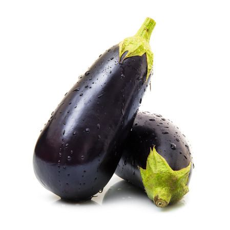 fresh eggplants in white