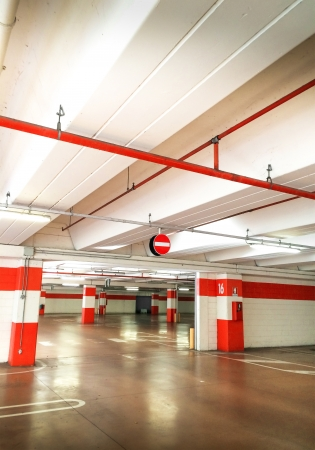 a large empty parking underground