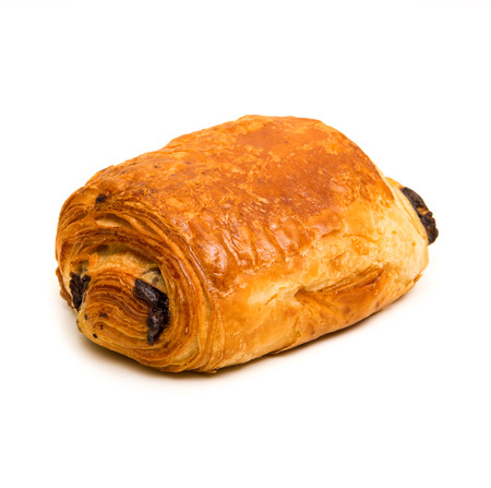 pain au chocolat on white background Stock Photo