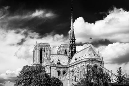 Notre-Dame de Paris en noir et blanc Banque d'images