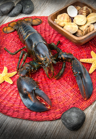 fresh lobster on wood table photo
