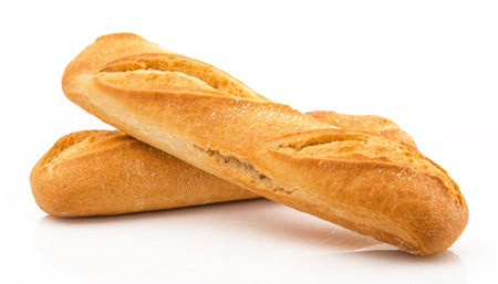 two fresh italian bread on white background