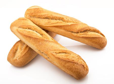 ie: three fresh italian bread on white background