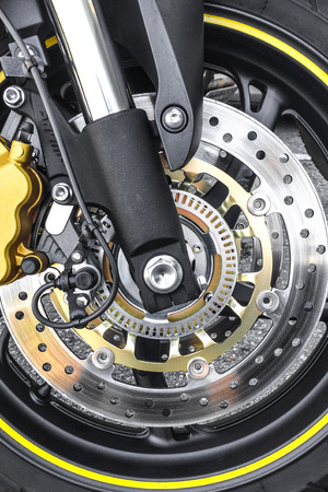 wheel of a motorcycle with disk brake Stock Photo
