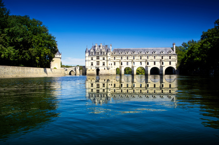 real renaissance: spectacular view of Chenonceau Castle in france