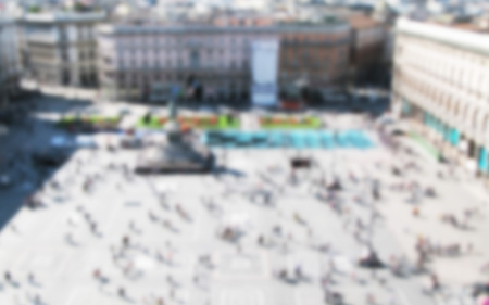 blurred background view of Duomo place in Milan Stock Photo