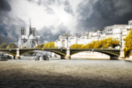 Paris, the Seine and Notre Dame background blurred effect